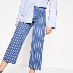 Zara Trafaluc Blue White Striped Button Trousers